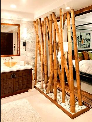 Brise-vue pour salle de bain en bambou.